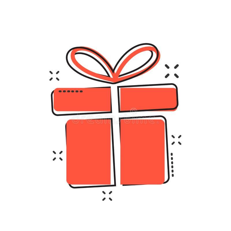 Vector de doospictogram van de beeldverhaalgift in grappige stijl Gift huidig teken i vector illustratie