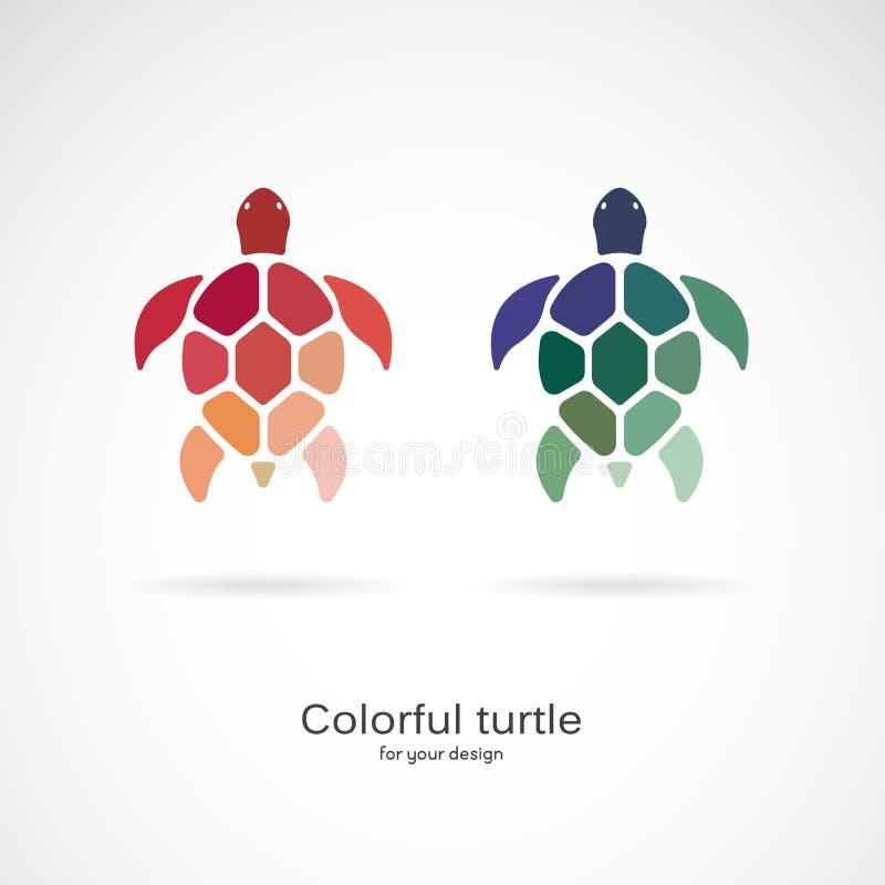 Vector de dos tortugas coloridas en el fondo blanco Animales salvajes Animal subacu?tico Icono o logotipo de la tortuga Editable  stock de ilustración
