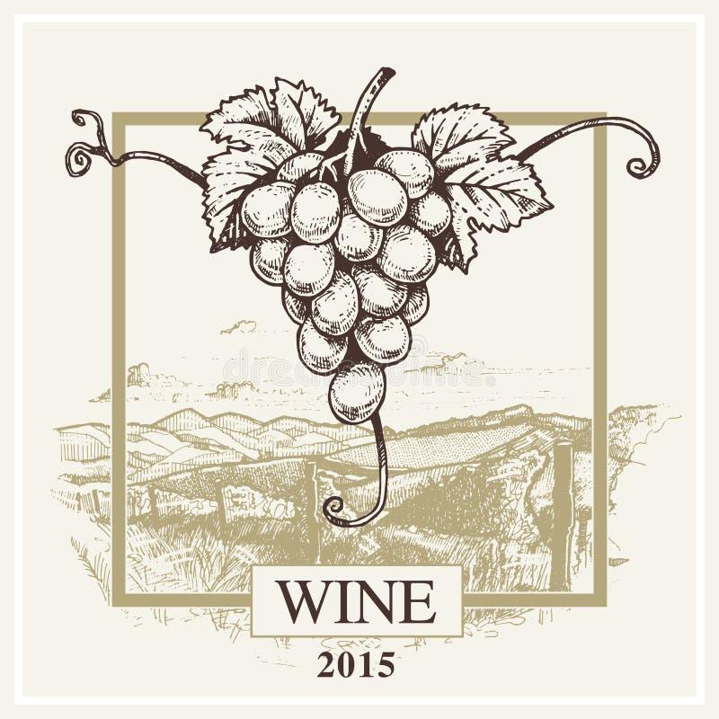 Vector de druif en het landschapsembleem van het wijnetiket voor wijnmakerij vector illustratie
