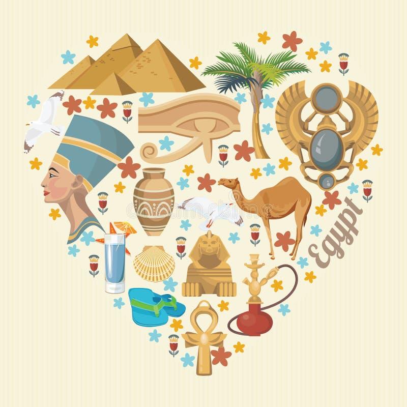 Vector de Egipto con forma del corazón Iconos tradicionales egipcios en diseño plano Vacaciones y verano ilustración del vector