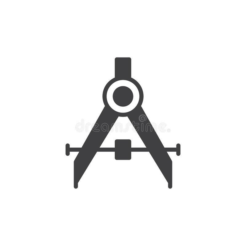 Vector de elaboración del icono del compás, muestra plana llenada, pictograma sólido aislado en blanco libre illustration