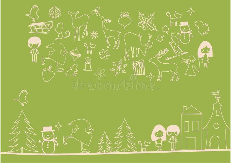 Vector - de elementen van Kerstmis stock illustratie