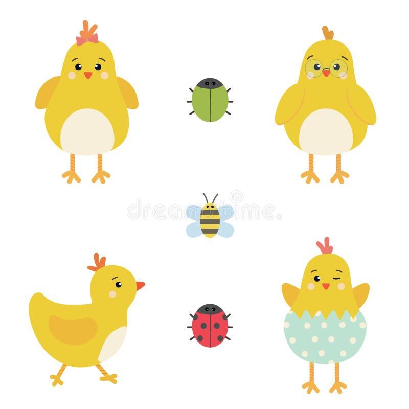 Vector de elementenreeks van Pasen van karakters van de de lente de gele kip, leuk lieveheersbeestje, kever en bij vector illustratie