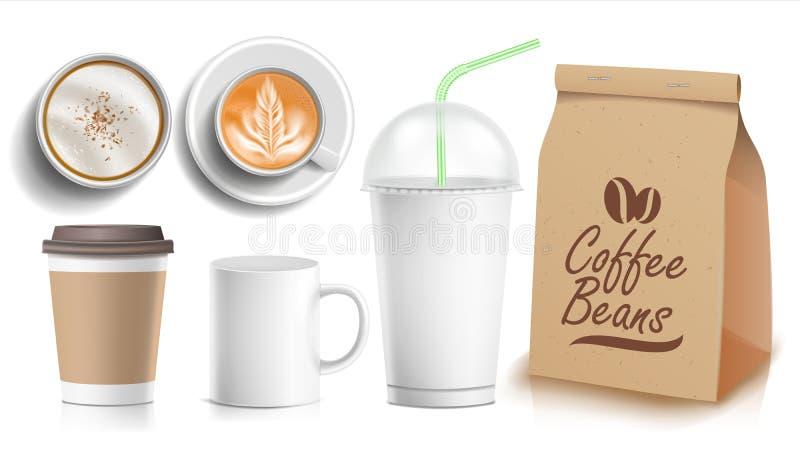 Vector de empaquetado del diseño de la plantilla del café Taza del café con leche Taza de cerámica y de papel, plástica Top, vist stock de ilustración