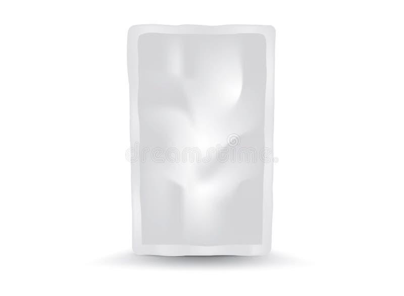 Vector de empaquetado en blanco blanco del bolso de la comida o de la bebida de la hoja, diseño de paquete, 3d, diseño de product libre illustration