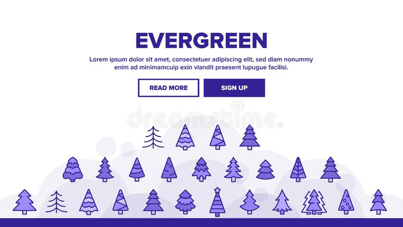 Vector de encabezado de árbol de pino evergreen libre illustration
