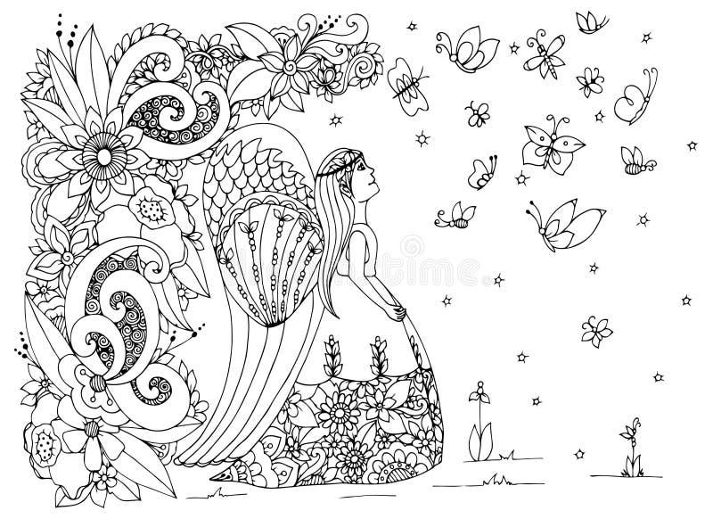 Vector de engelenmeisje van illustratiezen tangle met bloemen Vectoreps 10 Het kleuren boek antispanning voor volwassenen zwart vector illustratie