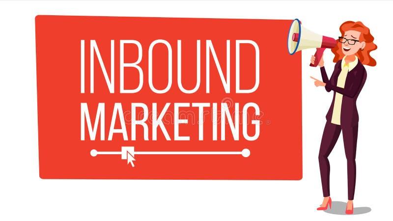 Vector de entrada de la bandera del márketing Hembra con el megáfono Lugar para el texto altavoz Páginas web, Social, llamada a l stock de ilustración