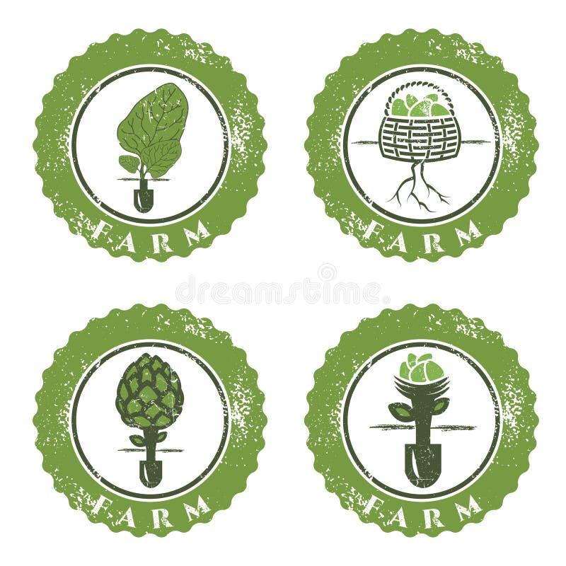 vector de etiketteninzameling van landbouwbedrijf uitstekende grunge stock illustratie