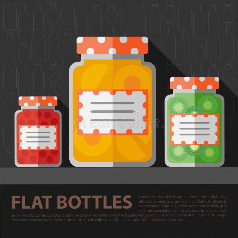 Vector de flessenmalplaatje van de kleuren vlak eigengemaakt jam stock illustratie