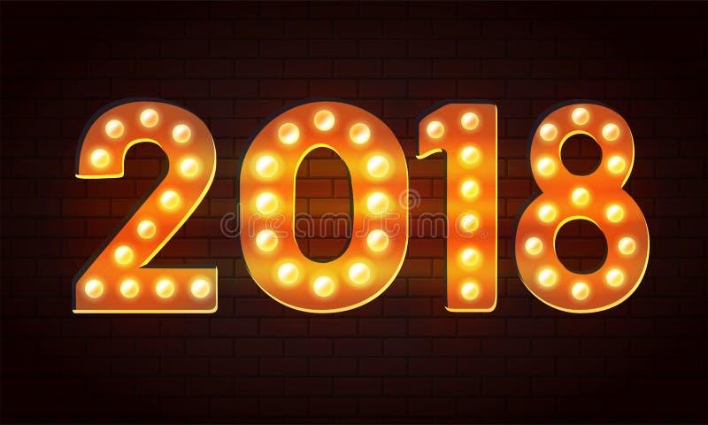 Vector 2018 de fondo de la Feliz Año Nuevo del bulbo con efecto luminoso sobre la pared stock de ilustración