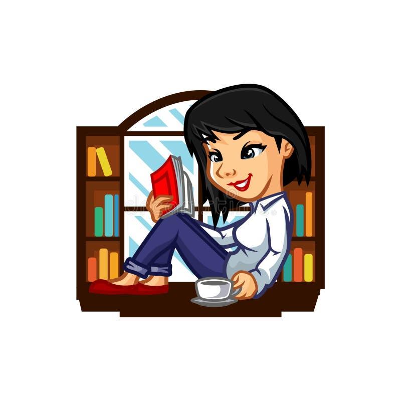 Vector de Girl Mascot Design del bibliotecario fotos de archivo libres de regalías