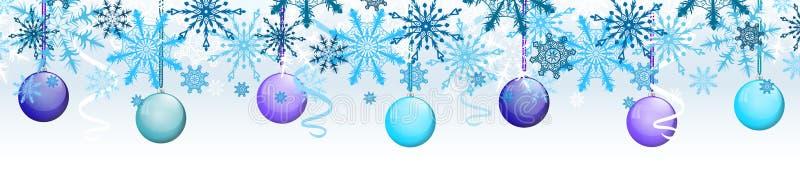 Vector de grensmalplaatje van het nieuwjaarontwerp op lichte achtergrond met gekleurde ballen en Kerstmiswimpel royalty-vrije illustratie