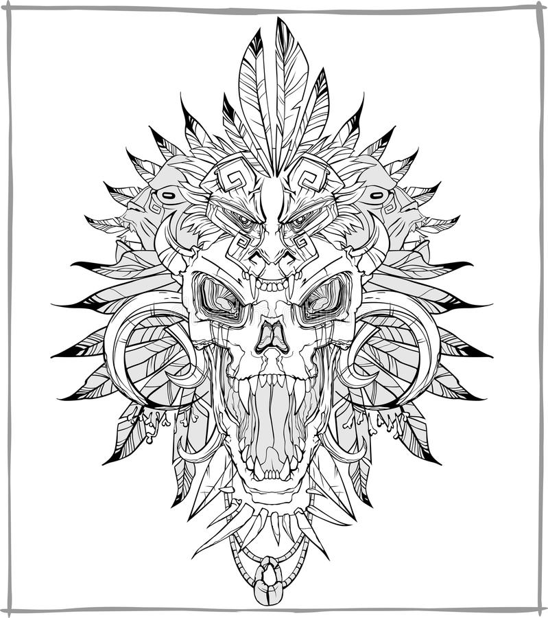 Vector de griterío del cráneo stock de ilustración
