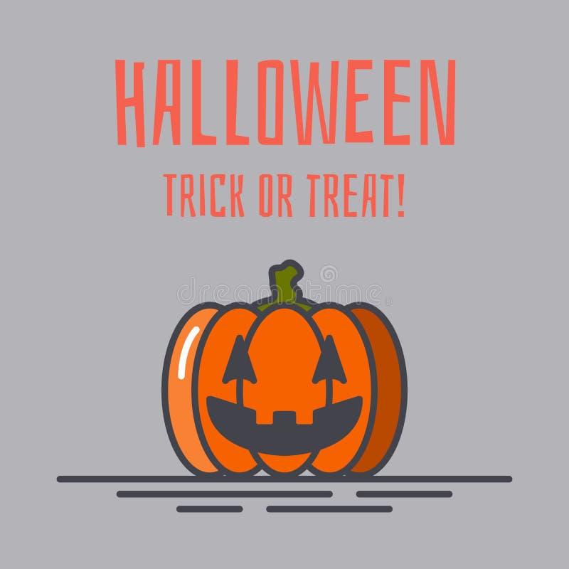 Vector de groetkaart van Halloween of banner voor Web met pompoen vector illustratie
