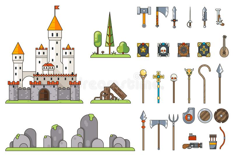 Vector de hadas mágico de la plantilla del icono de la cola del diseño plano del RPG del aventurero del concepto de la pantalla d libre illustration