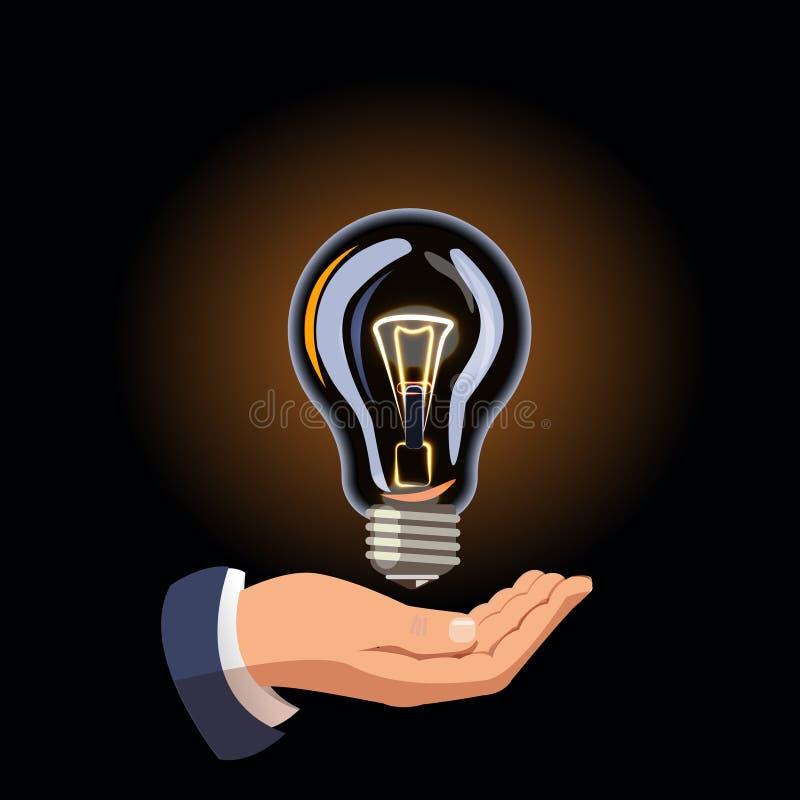 Vector De hand houdt een gloeilamp Het elektrische licht is  Energie - besparing Verkoop van gloeilampen Stel een idee voor stock illustratie