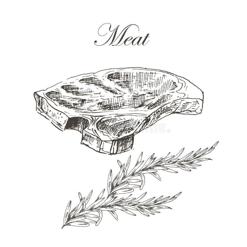 Vector de handtekening van het lapje vleesvlees met peper en royalty-vrije illustratie