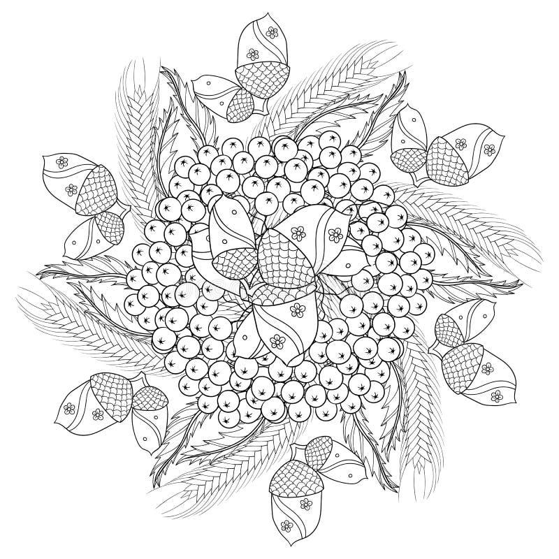 Vector de herfst gevormde achtergrond met eiken bladeren, Lijsterbes berrie royalty-vrije illustratie