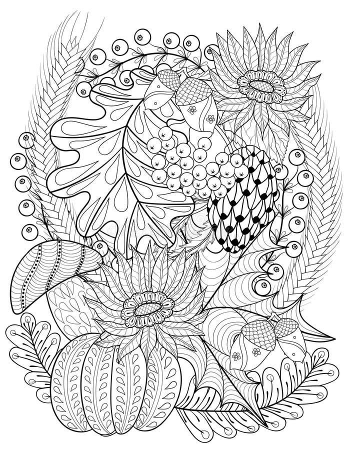 Vector de herfst gevormde achtergrond met pompoen, zonnebloem, leav stock illustratie