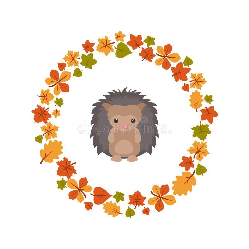 Vector de herfstachtergrond met leuke egel stock illustratie