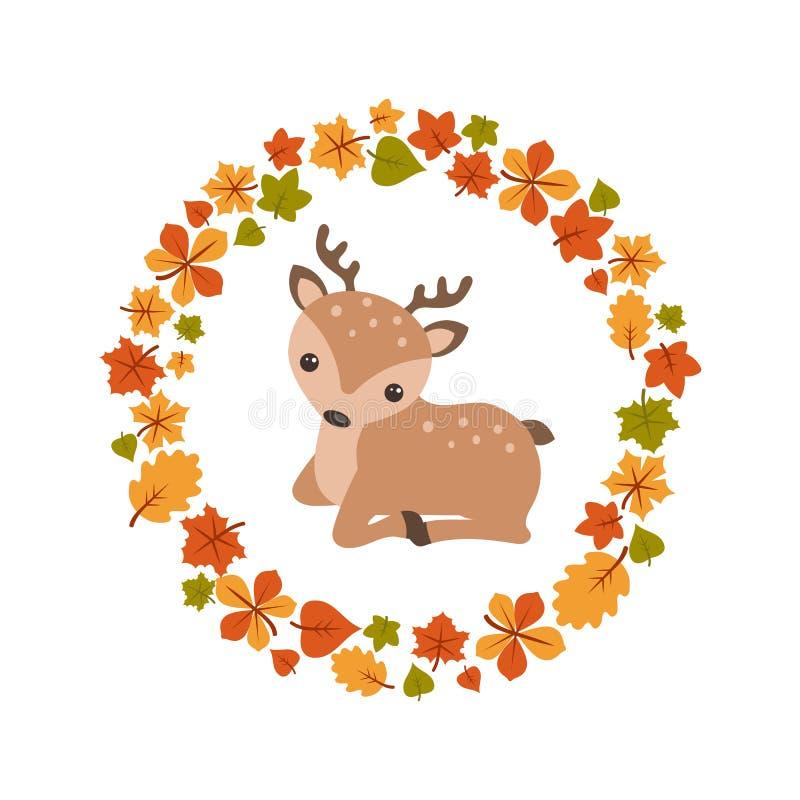Vector de herfstachtergrond met leuke herten stock illustratie