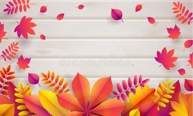 Vector de herfstachtergrond met lichte beige houten plank van asboom en gevallen heldere bladeren royalty-vrije illustratie