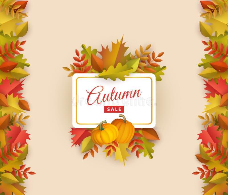 Vector de herfstverkoop met bladeren vierkant kader vector illustratie