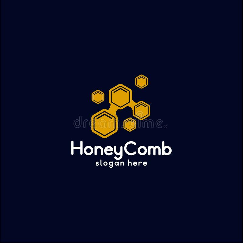 Vector de Honey Comb Logo Template Design, emblema, Honey Design Concept, símbolo creativo, - vector stock de ilustración