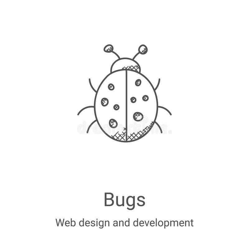 vector de icono de bugs de diseño web y recopilación de desarrollo Ilustración vectorial de iconos de esquema de líneas delgadas  libre illustration