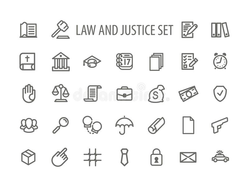 Vector de Icons Set Line de la ley y de la justicia stock de ilustración