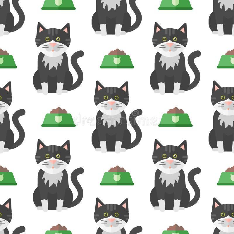 Vector de illustratie leuk dierlijk grappig naadloos patroon van kattenhoofden vector illustratie