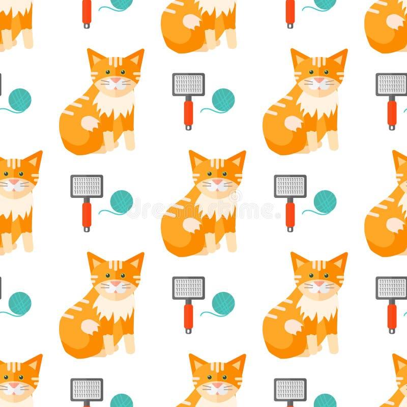 Vector de illustratie leuk dierlijk grappig naadloos patroon van kattenhoofden royalty-vrije illustratie