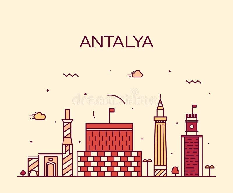 Vector de illustratie lineaire stijl van de Antalyahorizon vector illustratie