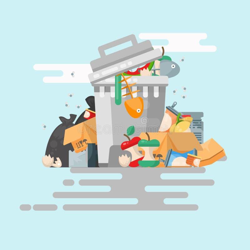 Vector de illustratiekaart van de huisvuilcontainer in moderne stijl Vuilnisbak met vuilnis wordt geplaatst dat malplaatje royalty-vrije illustratie
