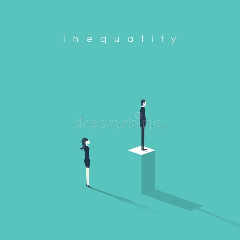 Vector de illustratieman van het ongelijkheidsconcept tegenover vrouw in zaken Verschil en onderscheid in het professionele werk royalty-vrije illustratie