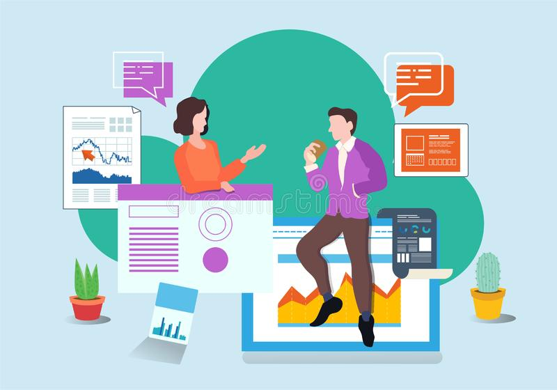 Vector de illustratiepagina van het bedrijfsbureaugroepswerk vector illustratie