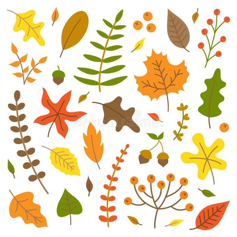 Vector de illustratiereeks van de herfstbladeren stock illustratie