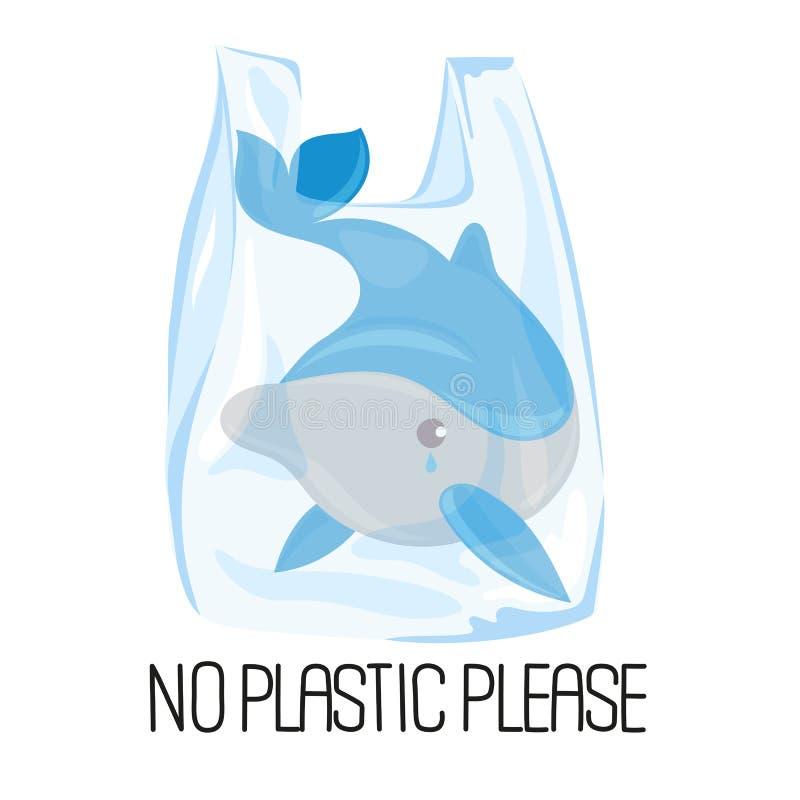 Vector de Illustratiereeks van het DOLFIJN PLASTIC Ecologische Probleem stock illustratie