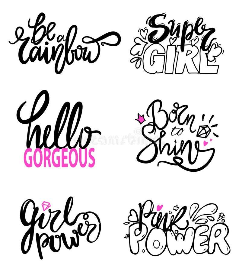 Vector de Illustratieslogan van meisjesachtige Graffititekens stock illustratie