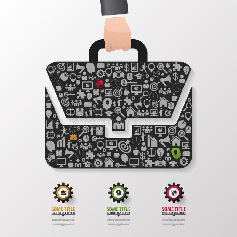 Vector de Infographics Línea plantilla del diagrama del diseño del bolso del negocio del estilo ilustración del vector