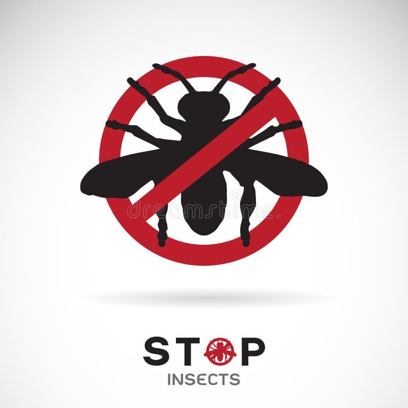 Vector de insectos en muestra roja de la parada en el fondo blanco Icono del insecto Animal Ejemplo acodado editable fácil del ve libre illustration