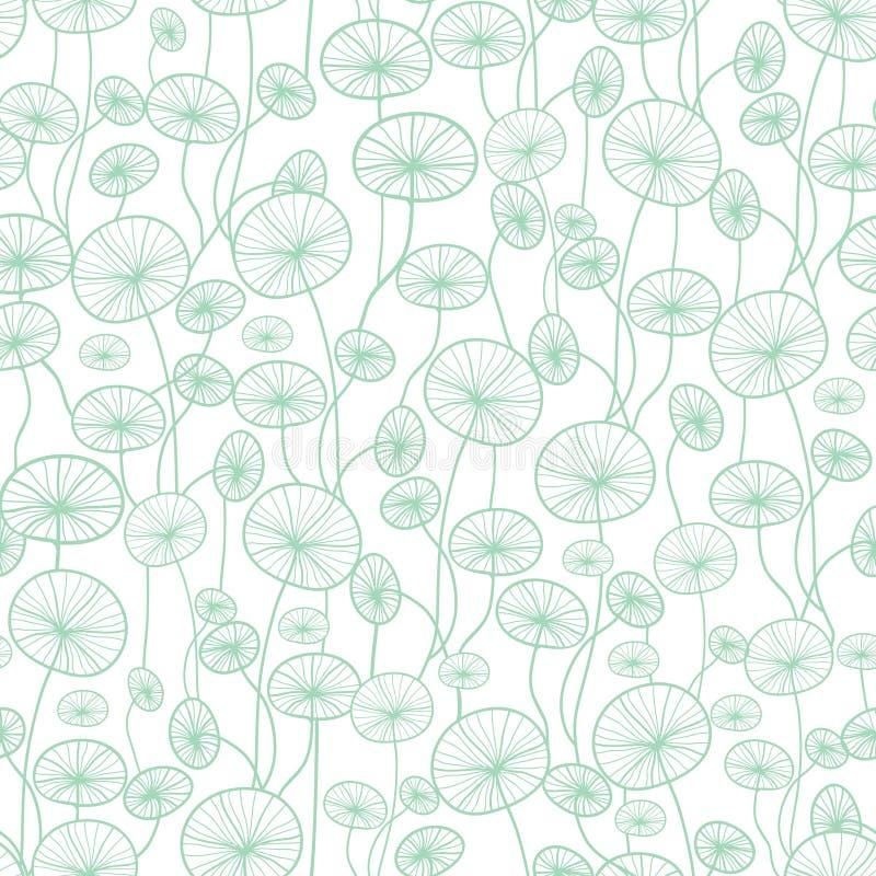 Vector de installatietextuur die van het munt groene en witte onderwaterzeewier naadloze patroonachtergrond trekken Groot voor su vector illustratie