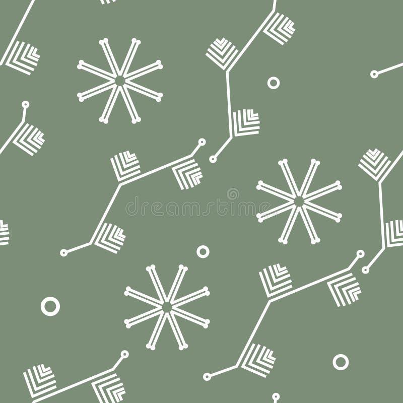 Vector de invierno sin fisuras con copos de nieve y elementos de árbol de Navidad. Bien para papel, textil, tejido o envoltura libre illustration