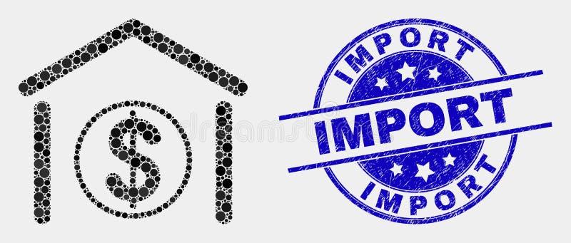Vector de Invoerverbinding van Dot Dollar Garage Bank Icon en Grunge- stock illustratie