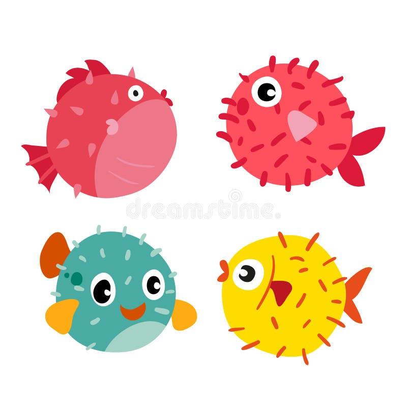 Vector de inzamelingsontwerp van kogelvisvissen vector illustratie