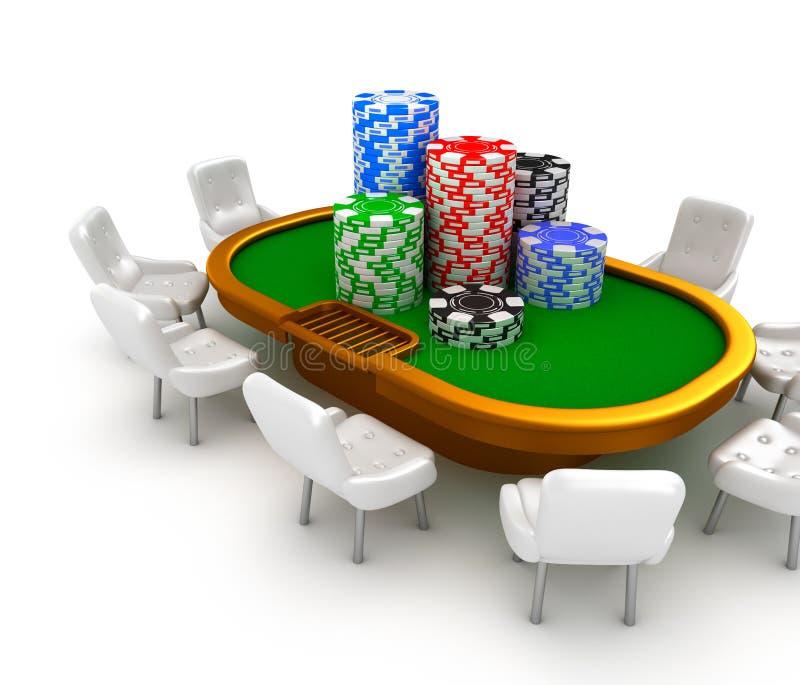 Vector de juego del póker con las sillas y los microprocesadores en él. stock de ilustración