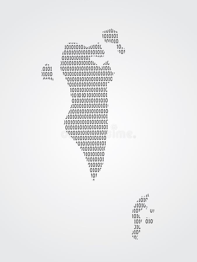 Vector de kaartillustratie die van Bahrein bits of aantallen op lichte achtergrond gebruiken om digitaal land en vordering te bet vector illustratie