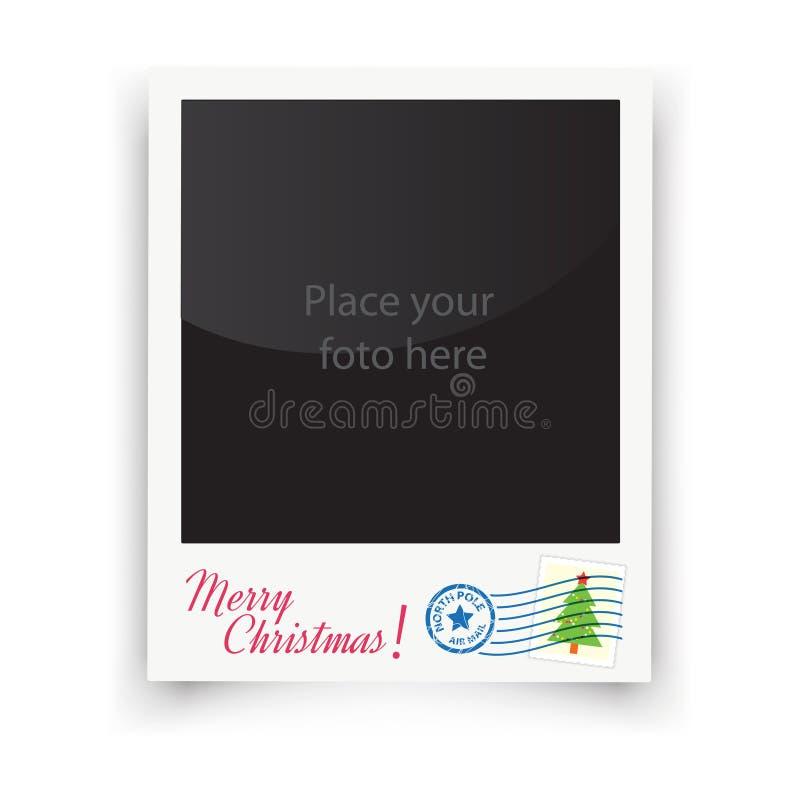 Vector de kaderspolaroidcamera van de malplaatjefoto Kerstmis royalty-vrije illustratie