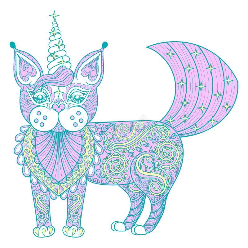 Vector de katteneenhoorn van de zentangle magische kleur, zwarte druk voor volwassene royalty-vrije illustratie